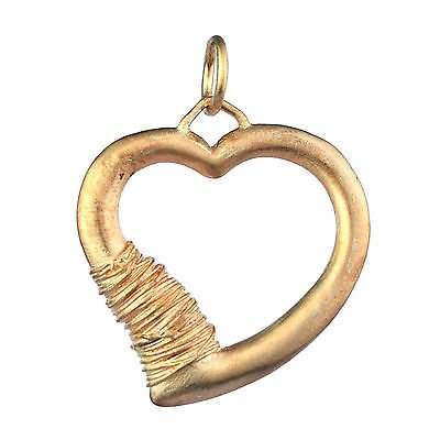 925 Sterling Plain Silver Rose Gold Heart Pendant jewelry 8.18g