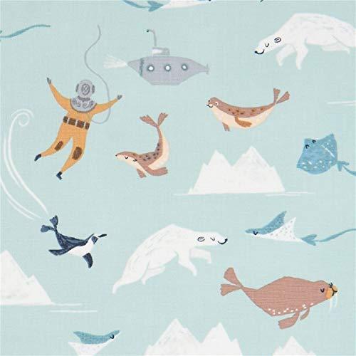 Timeless Treasures Tissu en Coton Vert Menthe avec des Icebergs, des phoques, des Pingouins, etc.