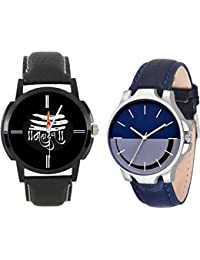 The Shopoholic Combo Latest Fashionable Blue And Black Mahadev Dial Analog Watch For Boys -Combo Watch Chain For...