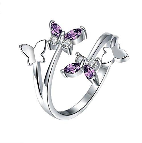 Westeng Schmetterlinge Silberring Verstellbare Größe Offener Ring Damenring Schmuck und Accessoires - Silber