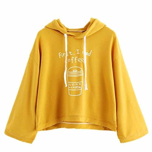 squarex _ lovely Frauen Long Sleeve Grau Buchstabe Print Kapuzen Sweatshirt Pullover (Arbeiten Dickies Kurz Jungen)