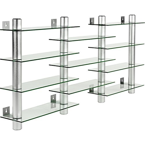 STILISTA CD DVD Wandregal, Klarglas, Aluminium Tubes, Höhe 60 cm, für 300 CDs, Rack Regal Glas
