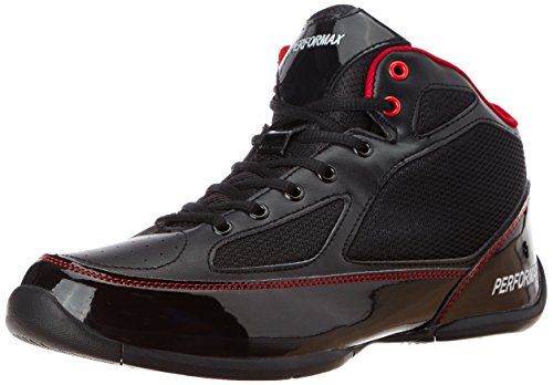 Performax Men's Black and Red Mesh Basketball Shoes - 6 UK