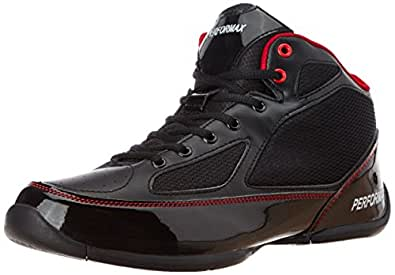 Performax Men's Black and Red Mesh Basketball Shoes - 11 UK