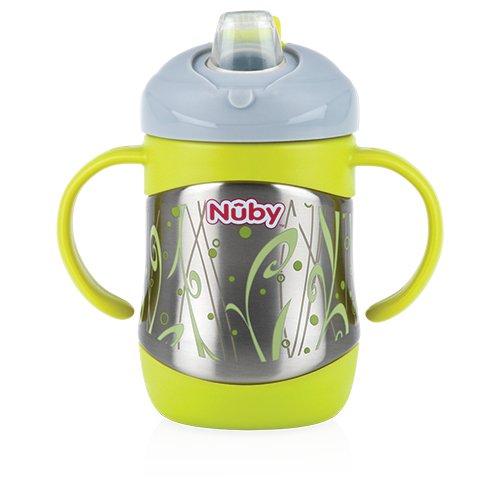 Nuby ID10260 Thermo Edelstahl Trinkbecher mit Trinktülle, 220ml