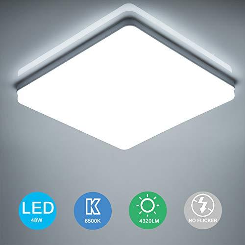 Yafido Plafonnier LED 48W UFO Panel Carré Lampes de Plafond Moderne Ultra-mince LED Lampe 4320LM Blanc Froid 6500K Facile à installer Applicable à Salle de Cuisine Salon Balcon 30 * 30 * 4cm