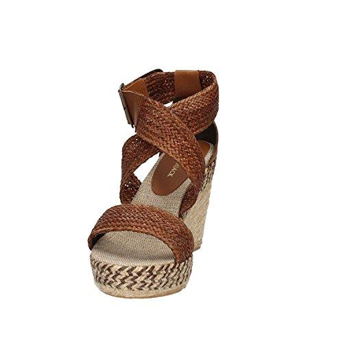 Sandalo Lumberjack Marisol in pelle cuoio con zeppa vera corda Marrone