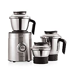 Cello Grind-N-Mix Beta 1000w Steel Mixer Grinder with 3 jars (Black and Silver)