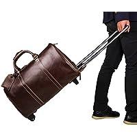 BAIGIO Borsone in Vera Pelle con Sacca per Tag Bagagli Valigia a Ruote da Uomo (I Migliori Bagaglio A Mano Viaggio)