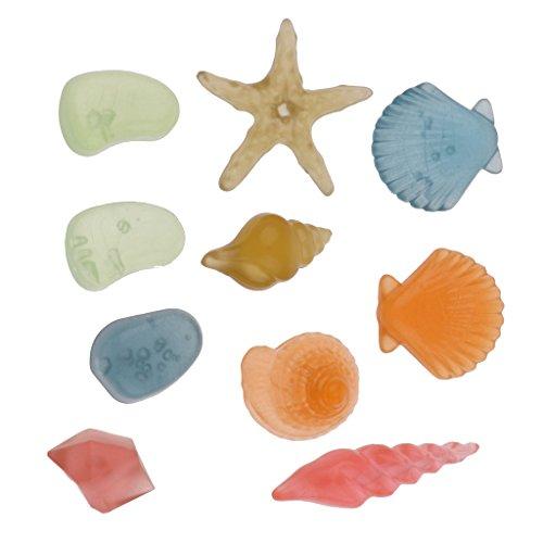 Baoblade 10pcs Leuchtsteine Leuchtkiesel nachtleuchtend Muscheln und Kieselsteine Aquarium Deko