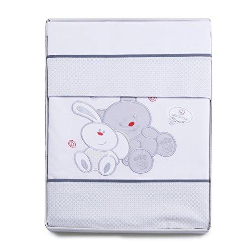 PEKITAS 3-teiliges Bettwäsche-Set für Kinderwagen/Kinderwagen, 40 x 80 cm, 100{4ff42c9d4f86ec5f72f069880074d18fd6d1387b49b05c1feb2498fdc52ddad0} Baumwolle, in Geschenkverpackung (Kissenbezug + Bettlaken + Spannbettlaken mit Gummiband) Freunde-Weiß