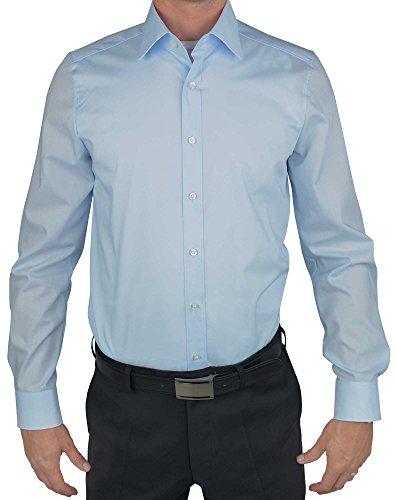 extra slim fit hemden Olymp Herren Hemd LEVEL 5 BODY FIT extralange Ärmel- Gr. 42, Hellblau