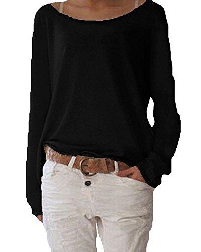 Damen Langarm T-shirt Rundhals Ausschnitt Lose Bluse Hemd Pullover Oversize Sweatshirt Oberteil Tops ,Farbe Schwarz , Gr. Medium / EU 40-42