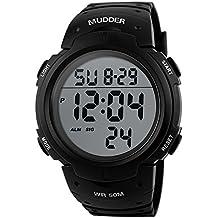 Mudder Hombres Deportes 5ATM Buceo Impermeable Blacklight Digital Moda Militar Relojes