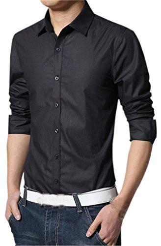 Fuxiang camicie uomo slim fit maniche lunghe casual camicia abito camicia affari top classiche formale camicetta shirt moda men colore puro shirts nero 2xl