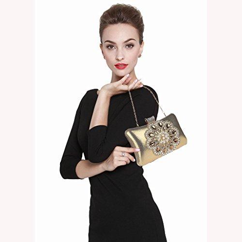 Borsa da donna frizione nuovo modo del vestito da sera di banchetto del sacchetto di diamante fiore in rilievo vestito HASP ( Colore : Silver ) Rose red