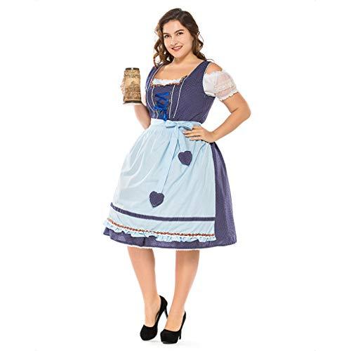 SDKHIN Oktoberfest Kostüm Deutsches Bier Mädchen Kostüm Damen Bayerische Kostüme Large Size,Blue-L