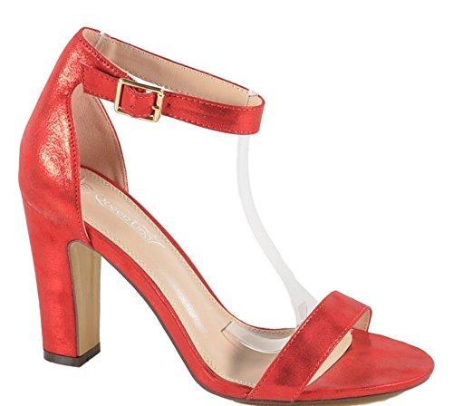 Damen Riemchen Abend Sandaletten High Heels Pumps Slingbacks Peep Toes Party Schuhe Bequem 252 (41, Rot) Peep Toe Slingback Schuhe