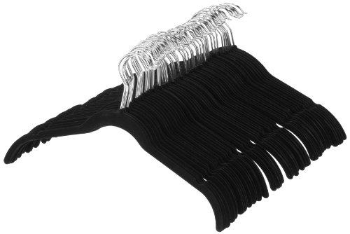AmazonBasics Perchas de terciopelo para camisas/vestidos - Paquete de 50, Negro