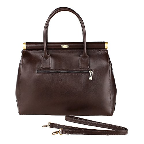 Borsa a Mano Bauletto da Donna con Tracolla in Vera Pelle Made in Italy Chicca Borse 35x28x16 Cm Marrone scuro
