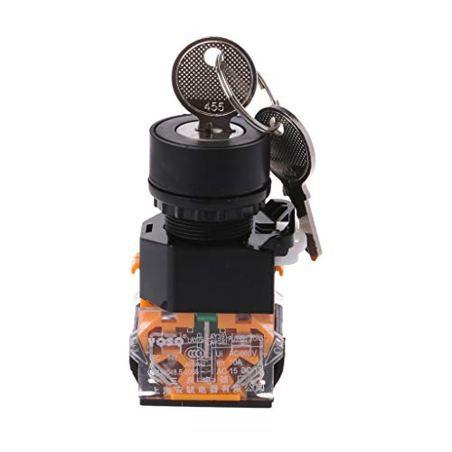 LANDUM Schlüsselschalter ON/Off Lock LAY38 3-Gang-Schlüsselschalter 22MM Elektronisch mit Schlüssel