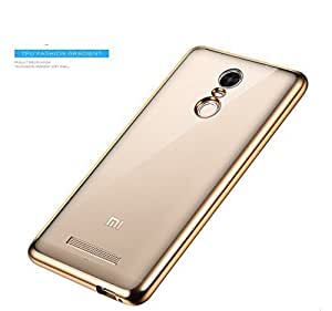 mobbysol™ Xiaomi redmi note 3 meephone electroplating transparent back soft tpu ultra thin back cover golden by mobbysol