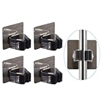 AMERTEER Broom Mop Holder, 4 Pack Broom Gripper Holds Self Adhesive Reusable No Drilling Super Anti-Slip, Wall Mounted Storage Rack Storage & Organization Your Home, Kitchen Wardrobe