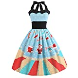 Weihnachtskleid Damen Briskorry Frauen Vintage Weihnachten Gedruckt Party Kleid Cocktailkleid Rockabilly Minikleid Halter Ärmelloses Abend Party Prom Swing Kleid