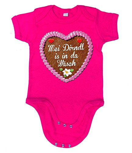 Artdiktat Baby Organic Bodysuit - Strampler - Lebkuchenherz - Mei Dirndl is in da Wäsch Größe 66/76, fuchsia