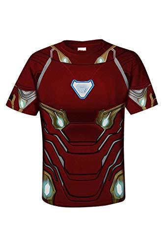 Herren Superheld Avengers: Endgame Iron Man Kurzarm Bedrucktes T-Shirt Hemd Cosplay Kostüm Rot