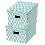 Compactor Check Boîtes de Rangement en Carton, 40x 31x 21cm, Lot de 2, Bleu/Blanc, Carton, Bleu/Blanc, 40.0 x 31.0 x 21.0 cm