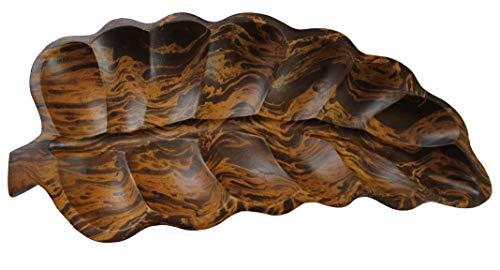 Rotfuchs Holzschale Dekoschale Obstschale Holzdeko Desing Blatt 25 cm aus Mangoholz Handgefertigt Dunkelbraun