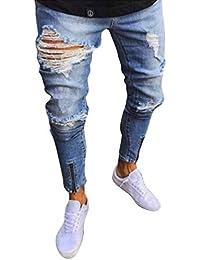 06e5723bad089 WanYangg Homme Jeans Elasthane Skinny Déchiré Aux Genoux, Slim Craqué  Pantalon Cargo Délavé Slim Droit