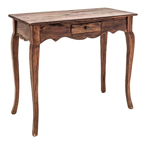 Riess Ambiente Massiver Schreibtisch Hemingway 80cm braun Mahagoni mit Schublade Tisch Bürotisch Schminktisch -