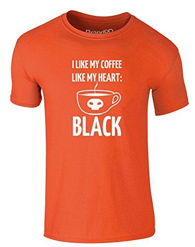 Brand88 - I Like My Coffee Like My Heart: Black, Erwachsene Gedrucktes T-Shirt Orange/Weiß