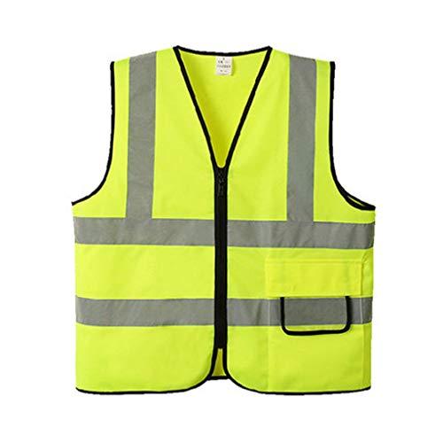 XBQXF Reflektierende Weste, Reflektierende Weste Sicherheitsweste Multi-Pocket-Konstruktion Sicherheit Schutzkleidung Verkehr Auto Fluoreszierende Kleidung (Farbe : 1 pack, größe : L)