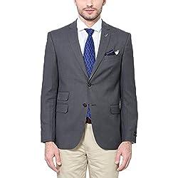 Van Heusen Men's Slim Fit Blazer (8907355513815_VHBZ515M04623_48_Medium Grey Solid)