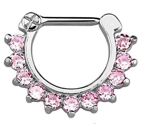 Septum Clicker echt Silber Ring Kristall mit Stein Piercing Nasenpiercing 8mm (Echtes Sterling Silber Nase Ringe)