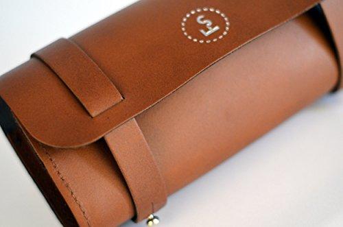 FSBIKE® TOOLS I / TOOLS BIG ONE Fahrrad Leder Werkzeugtasche (100% Echtes Leder Lenkertasche Satteltasche Höchste Qualität Elegante Optik) Tool Big Brown