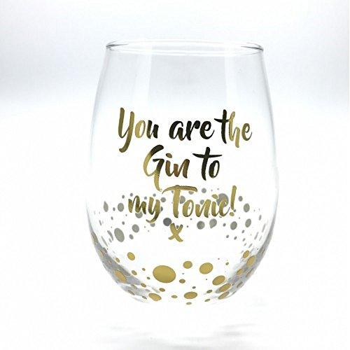 Bicchiere Da Gin Senza Stelo Gold Edition Con Scritta In Inglese