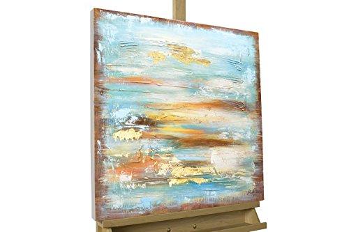 KunstLoft Acryl Gemälde 'First Day of May' 60x60cm | Original handgemalte Leinwand Bilder XXL | Abstrakt Blau Braun Nebel | Wandbild Acrylbild Moderne Kunst Einteilig mit Rahmen
