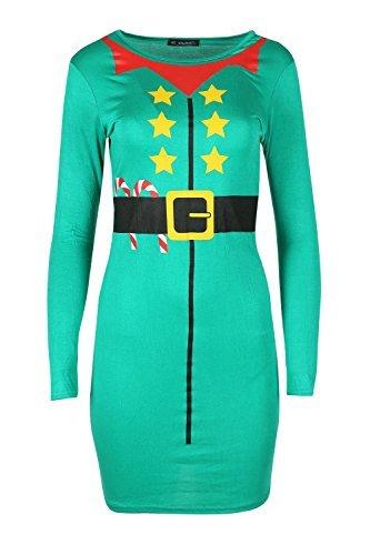 Oops Outlet Damen Weihnachten Candy-stick Mit Gürtel Santa Elfe Kostüm Langärmlig Bandage Bodycon Minikleid - Grün, Übergröße - Übergröße Damen Elf Kostüm
