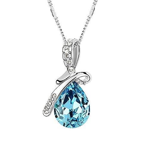 FANSING Bijoux Cadeau Goutte d'eau Baisse Forme Autrichien Cristal 3.2*1.7cm Pendentifs Colliers Pour Femme 40+5cm
