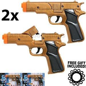 lot-of-2-golden-cap-gun-pistol-revolver-detective-police-cowboy-toy-colt-45
