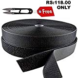 "RARE PRODUCTS Premium Quality of Hook & Loop Fastener Tape Rolls 1"" (inch) Width X 5 Meter Length with Free Non Woven car Covers Color :Black"