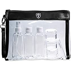 TRAVANDO ® Trousse de Toilette Transparente + 7 Bouteilles, Pots, Contenants pour Liquides | Kit de Voyage 1l pour l'Avion | Set de Voyage dans Bagages à Main | Sac Cosmétiques pour Hommes et Femmes