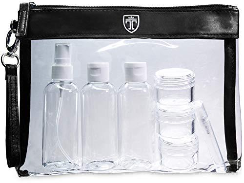TRAVANDO ® Kulturbeutel durchsichtig mit 7 Behältern (max. 100ml) | 1l Kosmetiktasche transparent Kulturtasche für Flüssigkeiten | Reiseset Handgepäck für Flugzeug Reise Flaschen Handgepäck Beutel