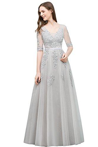 Damen Prinzessin Tüll Abiballkleid Abschlusskleid mit Blumenstickerei Lang Silber 46