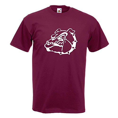 KIWISTAR - Bulldoggen Symbol - Kampfhund T-Shirt in 15 verschiedenen Farben - Herren Funshirt bedruckt Design Sprüche Spruch Motive Oberteil Baumwolle Print Größe S M L XL XXL Burgund
