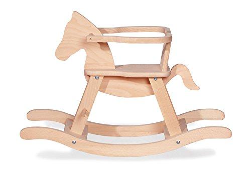 Schaukelpferd Pinolino mit Ring, aus massivem Holz, Ring abnehmbar, Umbausatz enthalten, für Kinder ab 9 Monaten, unbehandelt (Schraube Polster Die Durch Stoff)